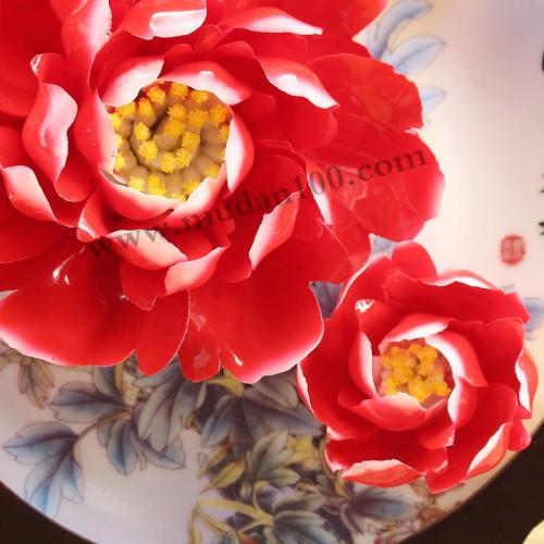 璎珞宝珠牡丹瓷花朵细节图