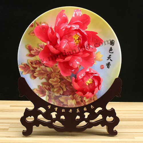 娇红牡丹瓷正面