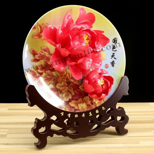 娇红牡丹瓷侧面