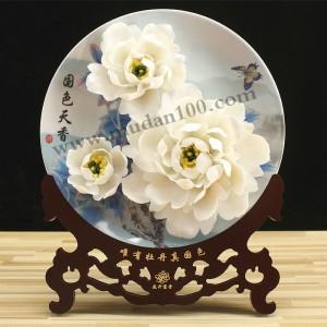 周年庆纪念礼品-白鹤羽牡丹瓷