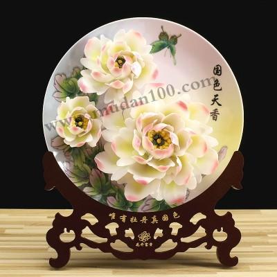 洛阳旅游纪念品-玉蝶白牡丹瓷