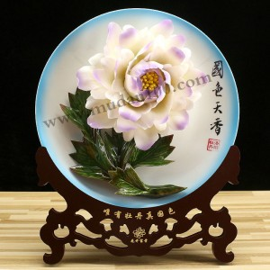 周年庆纪念礼品-紫蝶白牡丹瓷