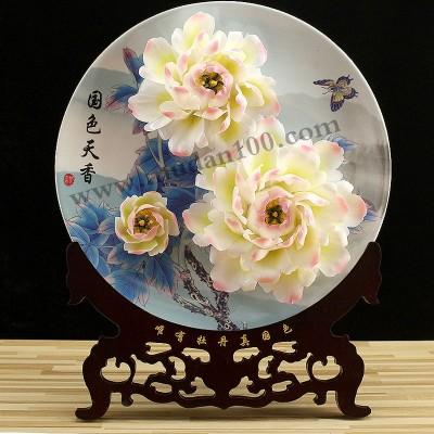 家庭装饰品:娇容三变牡丹瓷