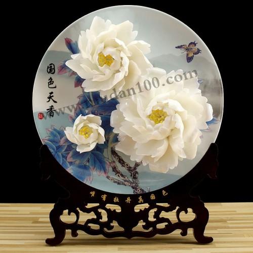 玉板白牡丹瓷正面