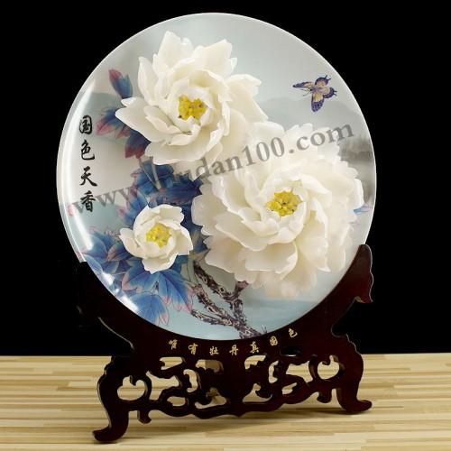 玉板白牡丹瓷侧面
