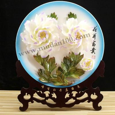牡丹花陶瓷摆件娇容三变牡丹瓷16英寸-宽39cm-高51cm