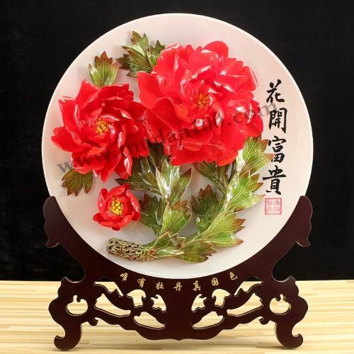 晨红牡丹瓷正面