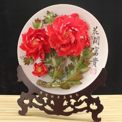 晨红牡丹瓷侧面
