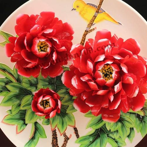 肉芙蓉牡丹瓷细节