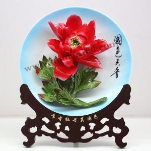 洛阳旅游纪念品-火炼金丹红色牡丹瓷