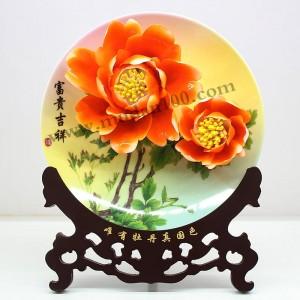 公司礼品送什么好?橘色牡丹瓷