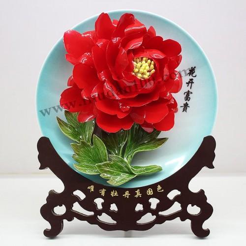 洛阳红牡丹瓷正面