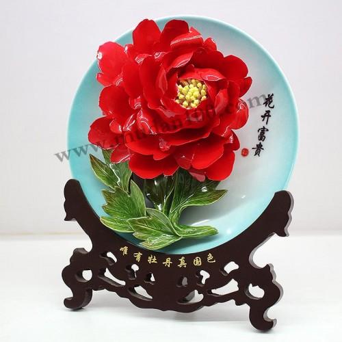 洛阳红牡丹瓷侧面