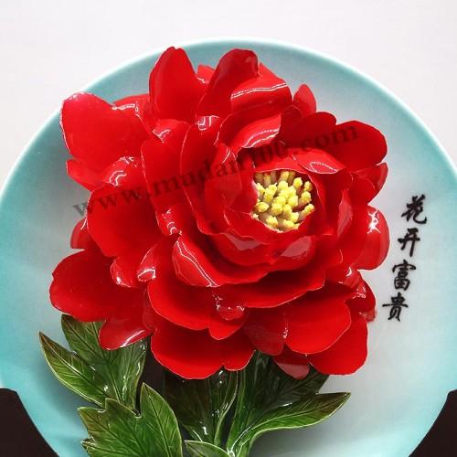 洛阳红牡丹瓷细节