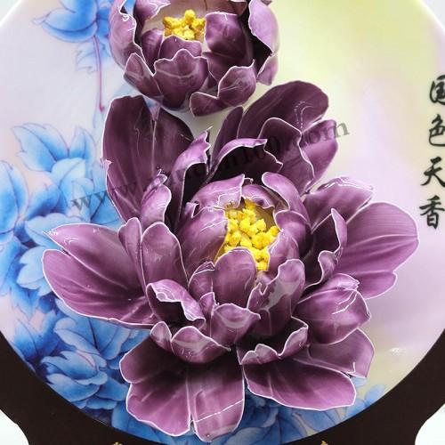魏紫牡丹瓷细节