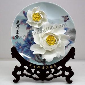 周年庆纪念礼品-风丹白牡丹瓷