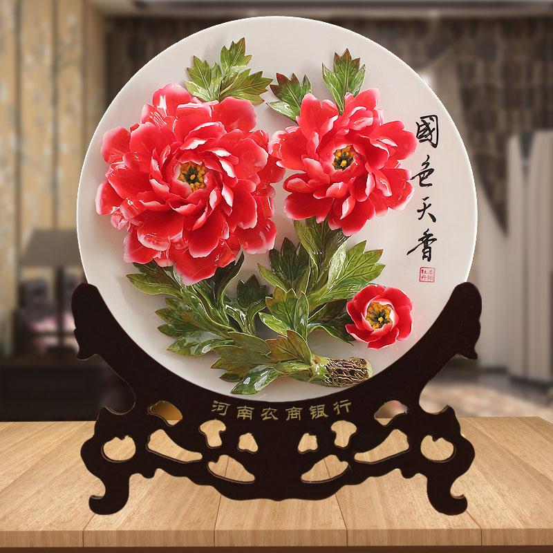 银行定制的牡丹瓷礼品回馈老客户